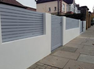 front-boundary-wall-screen-automated-electronic-gate-installation-grey-wooden-fence-bike-store-modern-garden-design-balham-clapham-london-3